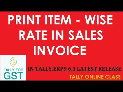 Print Item-Wise Rate In Sales invoice -Tally.ERP9 6.3 New Release