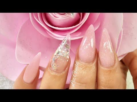 PINK PRINCESS ALMOND SHAPE ACRYLIC NAILS