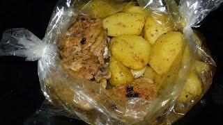 Картошка запеченная  в духовке в рукаве  с мясом за 30 минут/Что приготовить на ужин,на обед?
