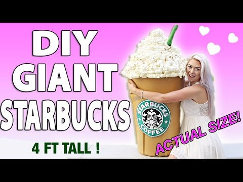 DIY GIANT STARBUCKS! HOW TO MAKE A 4 FT TALL FRAPPUCCINO/STORAGE BIN
