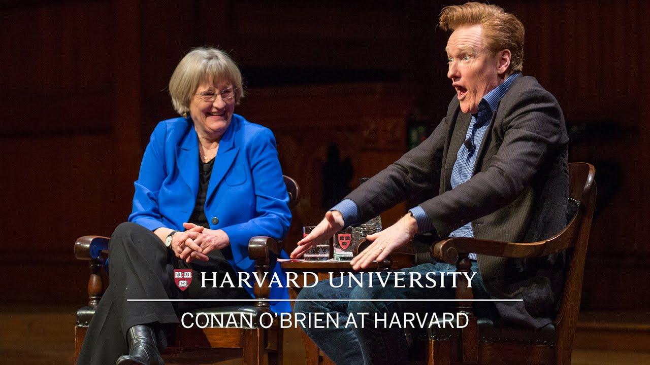 Conan O'Brien in conversation with Harvard University President Drew Faust