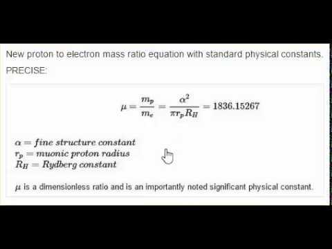proton radius in proton to electron mass ratio