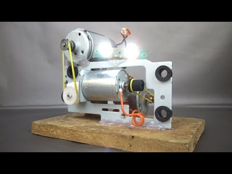How to make free energy with light bulbs - Amazing idea 2018 with motor generator