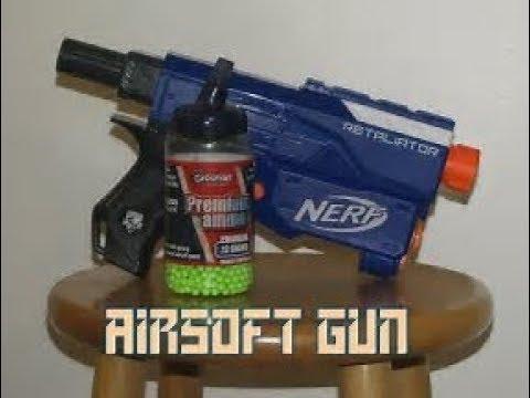 How to make a airsoft gun with a nerf gun