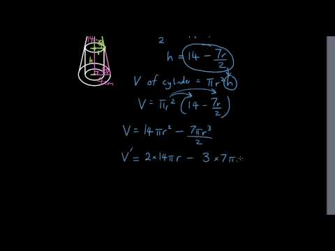 Find the maximum volume of a cylinder inside a cone (Differentiation problem solving question)