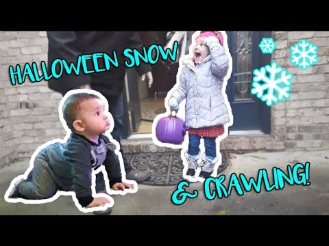 HALLOWEEN SNOW & FIRST TIME CRAWLING! | family vlog