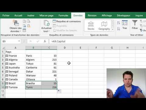 Ajouter des données géographiques dans Excel