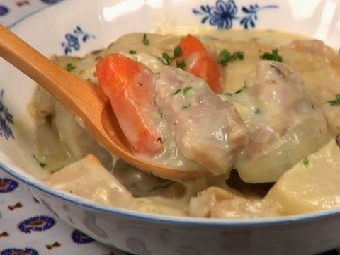 Cream Stew Recipe (White Chicken Stew with Mushrooms and Root Vegetables) | Cooking with Dog