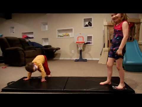 Gymnastics practice in basement (long)