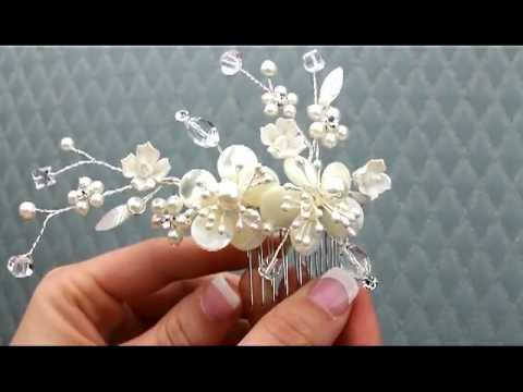 Mother of Pearl Flower Bridal Hair Comb - AA-S2200M