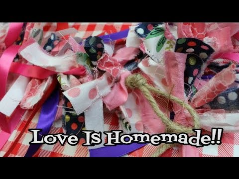 Hand Tied Homespun Valentine Garland ~ ❤️Valentine's Decor❤️ ~ Homespun Craft ~ Noreen's Kitchen