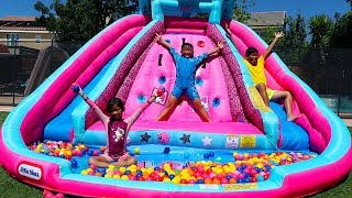 Download Emma Pretend Play with Water Slide Inflatable Toys Video