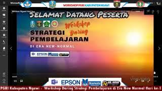 PGRI Kabupaten Ngawi -  Workshop Daring Strategi Pembelajaran di Era New Normal Hari ke-1