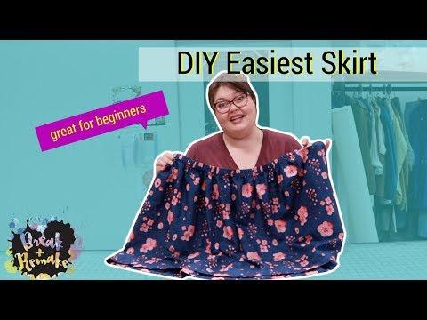 DIY Easiest Skirt - beginning sewing - gather waist skirt