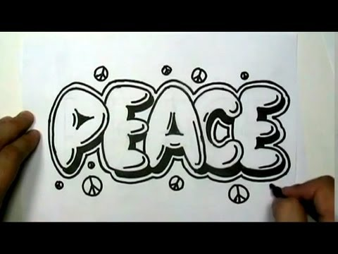 How to draw PEACE in Graffiti Letters - Write Peace in Bubble Letters - MAT
