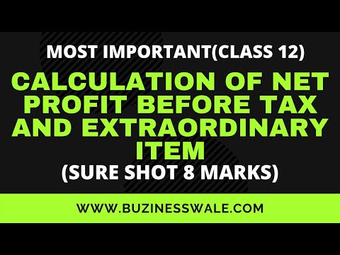 calculation of net profit before tax and extraordinary items
