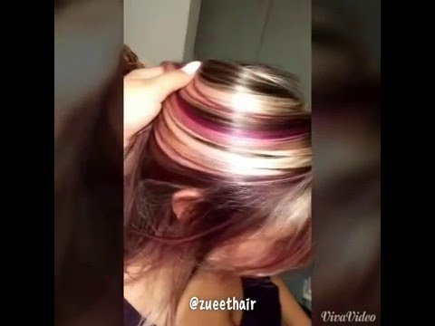 Blonde and purple highlights