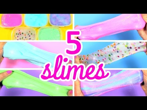 HOW TO MAKE SLIME WITHOUT BORAX! 5 AMAZING SLIMES!