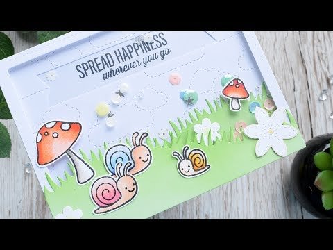 Spread Happiness - Snail Shaker card ft Lawn Fawn