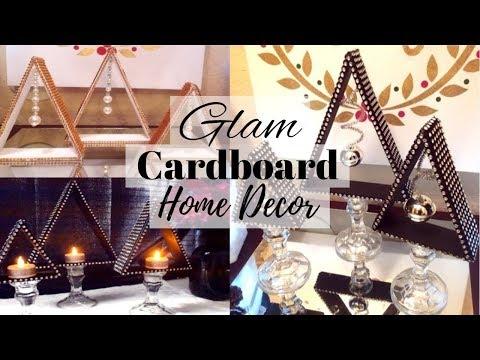DIY Bling Cardboard Centerpiece  Dollar Tree DIY  DIY Home and Room Decor Using Cardboard 