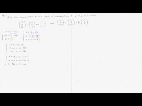 Vector Equations of Lines - Video 4 - Intersecting Lines in 3D - One Solution