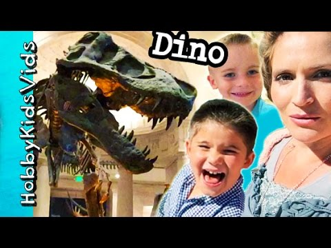 Dinosaur Bones Museum! T-Rex + Snakes, Mammoth Saber Tooth Tiger Natural History HobbyKidsVids