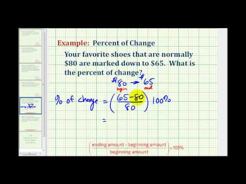 Example 1:  Determine a Percent of Change  (decrease)