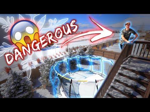 TRAMPOLINE VS SNOW CHALLENGE! *DANGEROUS*