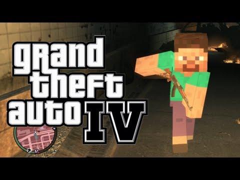 GTA 4: Minecraft in GTA! - (Steve and Creeper Mod Funtage)