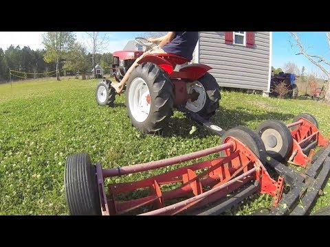 The Motomow Pulling the Reel Mower, by Request