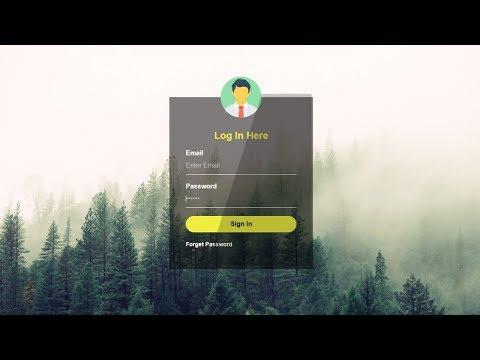 Transparent Login Form using Html 5 and css 3 || website design