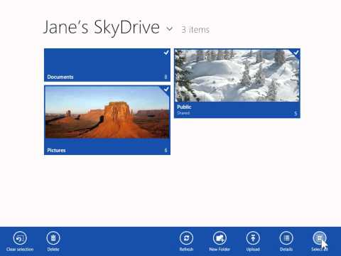 Windows 8.0 Professional - Select One or All Folders in One Drive