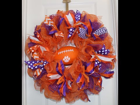 How to make a deco mesh football wreath using 21in ruffle technique 30in cuts with less fray