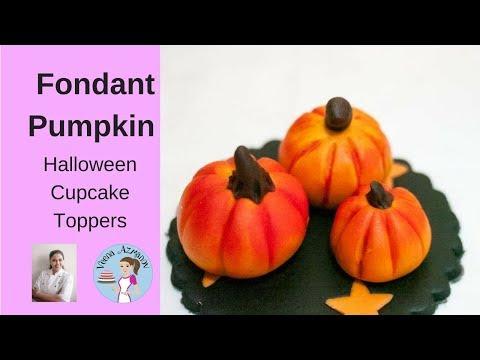 Fondant Pumpkin Cupcake Topper - Halloween Cupcake Tutorials
