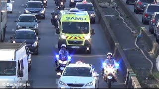 Police Motorcycles Escort Ambulance Through Heavy Traffic