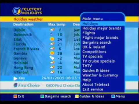 Teletext Holydays - Sky UK
