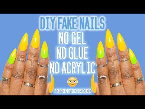 DIY Fake Nails at Home for CHEAP Yellow Ombre Fenty Inspired