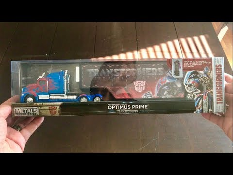 Transformers The Last Knight Optimus Prime w/ trailer Die Cast 1/64 scale UNBOXING