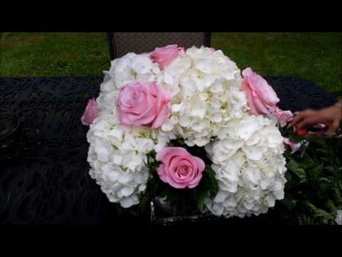 How to make a simple flower arrangement with Hydrangeas, Roseland roses, and variegated Pitt.