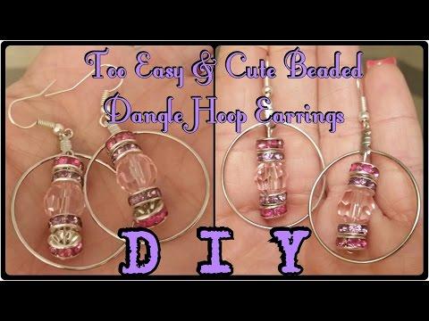 DIY Too Easy & Cute Beaded Dangle Hoop Earrings