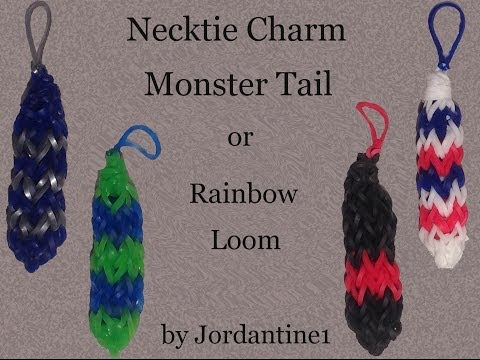 New Necktie / Tie Charm - Monster Tail or Rainbow Loom - Father's Day