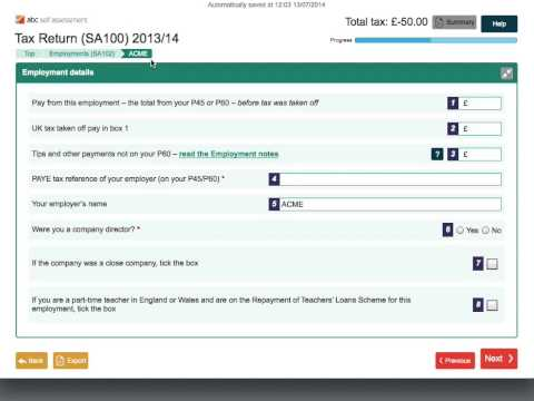 A complete tax return submission using ABC SA100