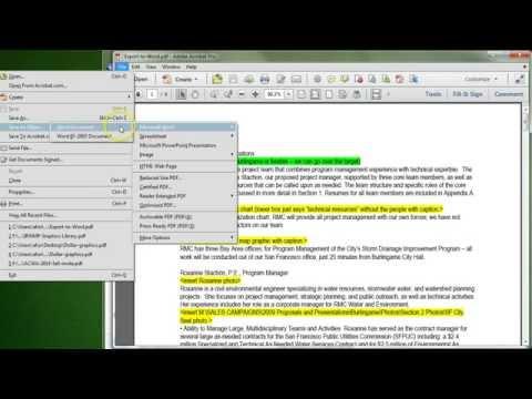 Adobe Acrobat XI: Export to Microsoft Word
