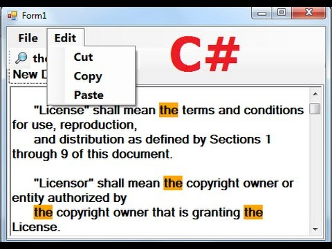 C# Tutorial 67: How to make a Tabbed Notepad In C# ( ManuStrip, Cut,Copy,Paste,Open,Save) Part-1