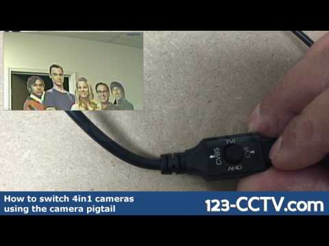 How to switch video output on 4in1 cameras using the pigtail