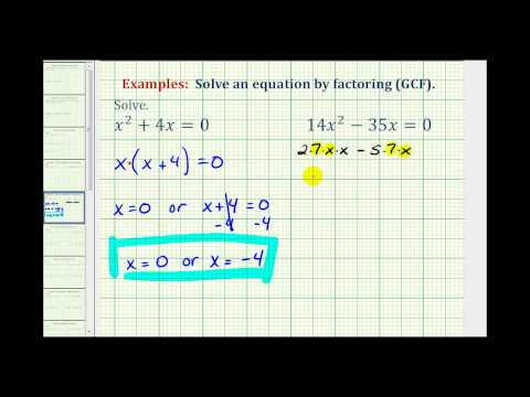 Ex:  Factor and Solve Quadratic Equation - Greatest Common Factor Only