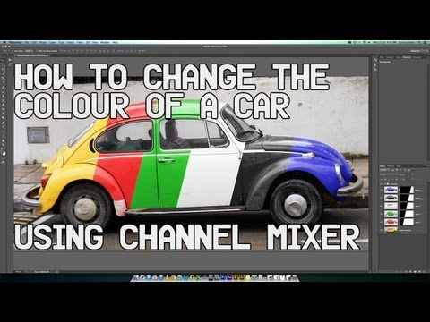 Photoshop Tutorial. Change the colour of a car using the Channel Mixer. (Includes Black and White).