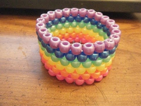 How to Make a Flat Peyote Stitch Cuff (Kandi) - [www.gingercande.com]