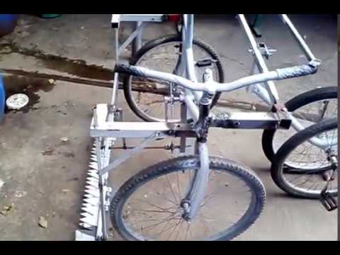 Human powered 4 wheel sickle bar mower experiment