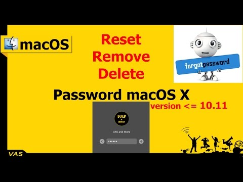 [MacBook macOS] Reset, remove, delete password user on macOS X smaller or equal 10.11